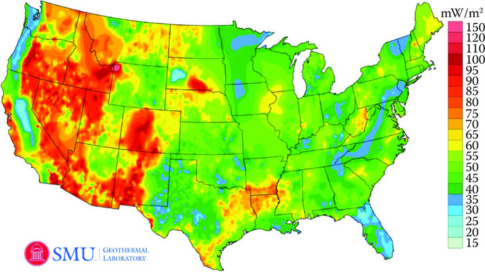 Heat flow map of the United States for 2011. Ochreous orange to more deeply red indicates heat flow values in excess of 80 mW/m