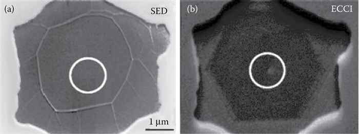 Secondary electron image (a) and electron-channeling contrast image (b) showing that screw dislocations were near the centers of graphene areas.