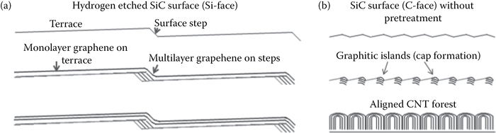 (a) Graphene and (b) CNT formation on SiC depending on the pretreatment.