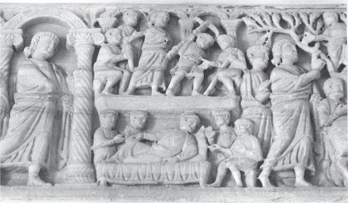 Bethesda sarcophagus, detail, healing scenes and Christ with Zachaeus, end of the fourth century (Rep. II 145), Ischia, Museo Diocesano. Photo: Jutta Dresken-Weiland, with kind permission of the Museo Diocesano.