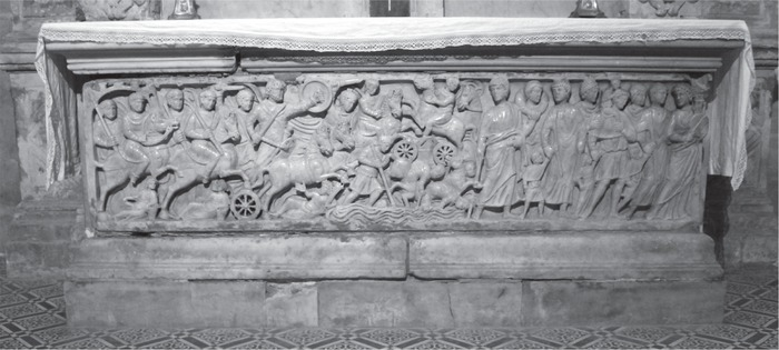 Red Sea sarcophagus, Church of St Trophime, Arles. Photo: Mark D. Ellison.
