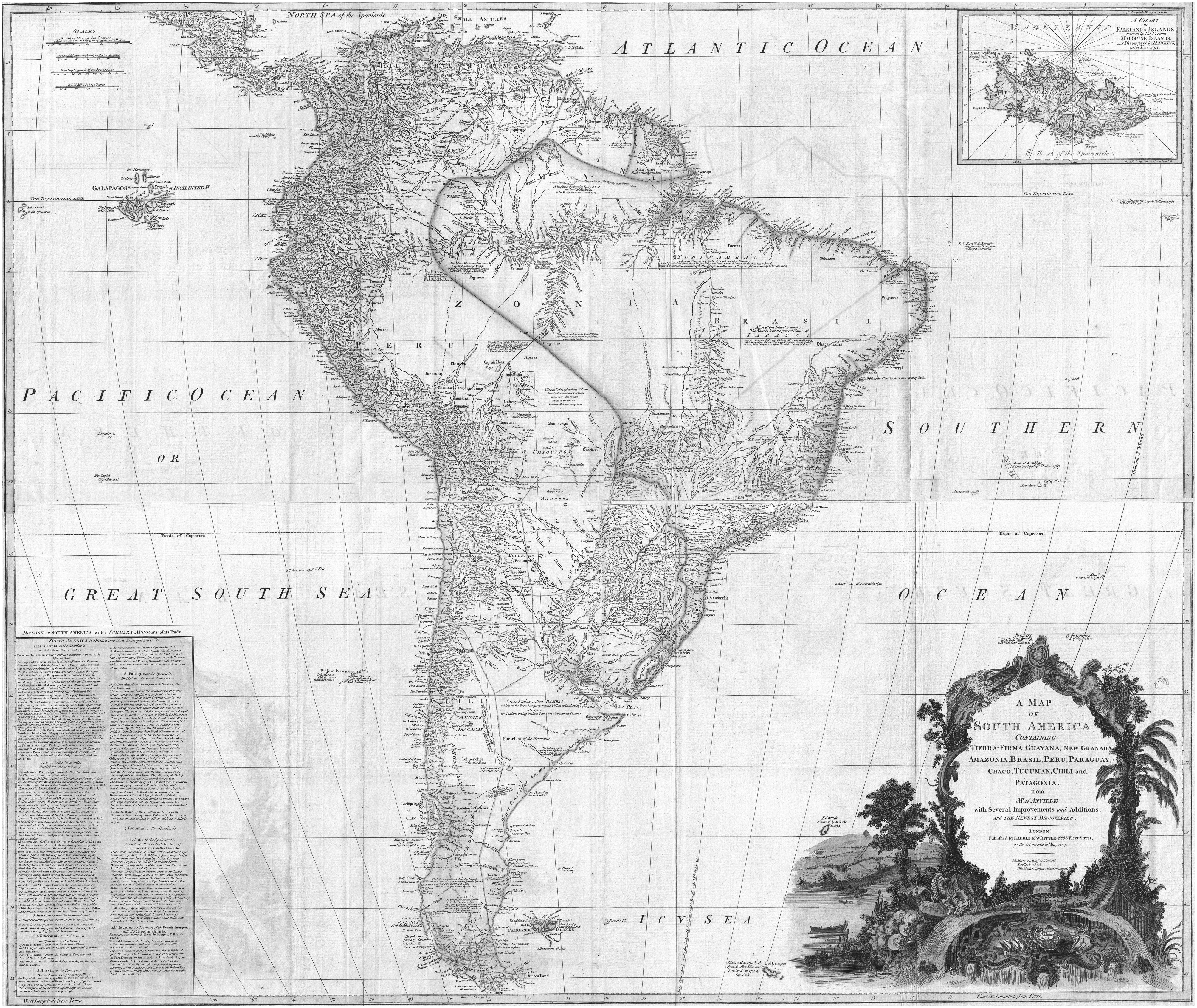 Routledge handbooks online a 1795 map of south america fandeluxe Choice Image